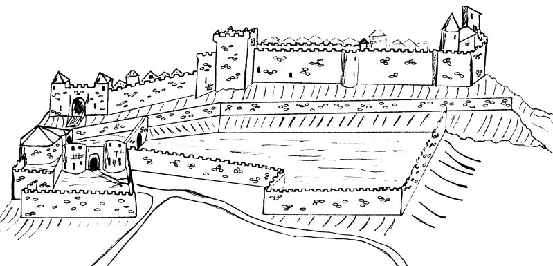 Plan des fortifications de Capdenac-le-Haut dans le Lot au XVIème siècle