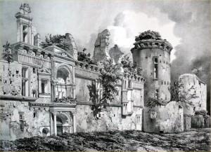 Façade extérieure du Château d'Assier au XIXe siècle