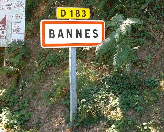 Panneau du village de Bannes