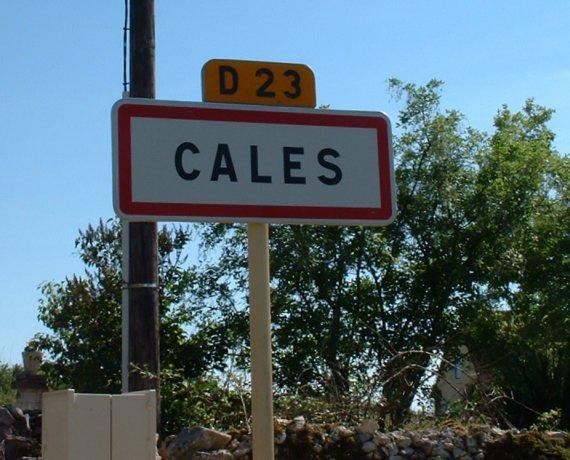Panneau du village de Cales