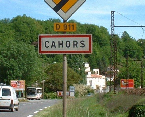 Panneau de la ville de Cahors dans le Lot