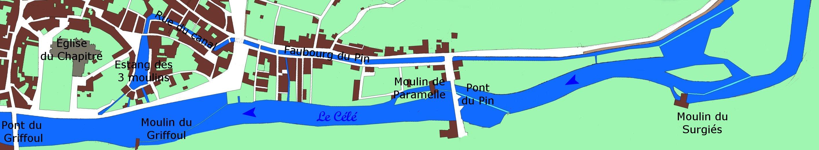 Schéma de l'ancien canal d'alimentation des 3 moulins à Figeac