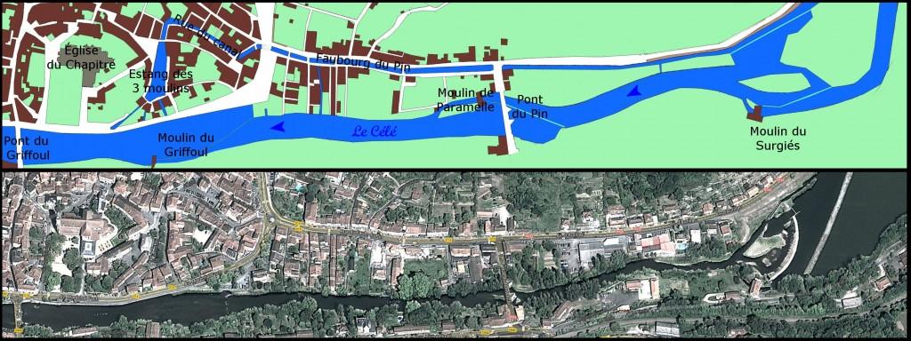 Le tracé de l'ancien canal d'alimentation des 3 moulins à Figeac