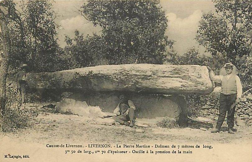 Dolmen de la Pierre Martine à Livernon dans le Lot (Carte ancienne)