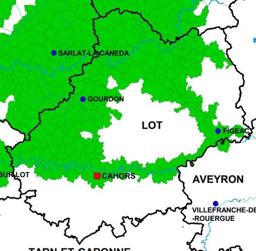 La Noix du Périgord AOC - Aire géographique Lot
