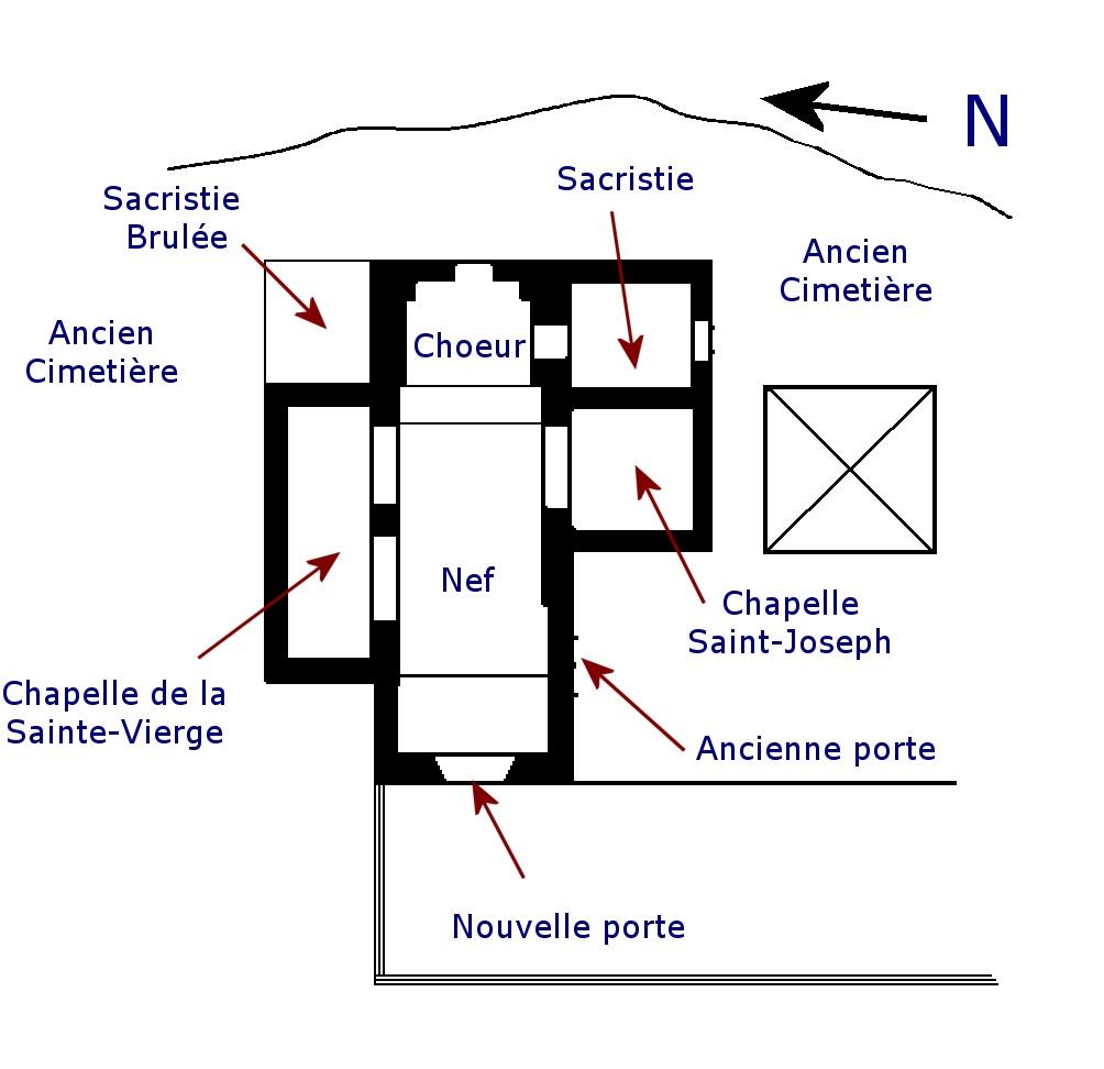 Plan de l'église Saint-Étienne à Calvignac (bourg)