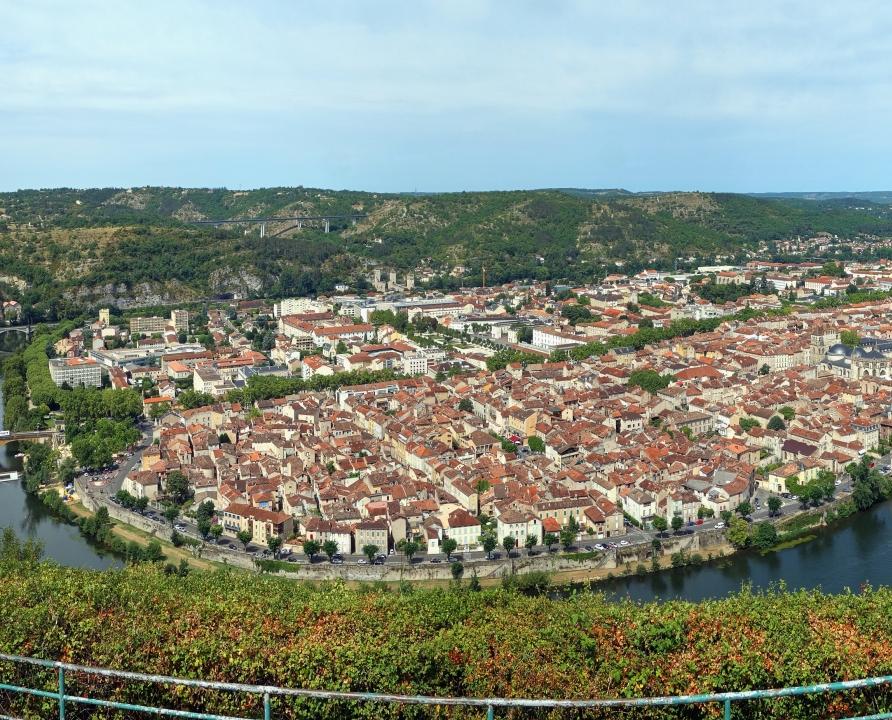 Circuits randonnée pédestre - Cahors - Circuit du Mont Saint Cyr - 6km (point de vue depuis le mont Saint-Cyr à Cahors)
