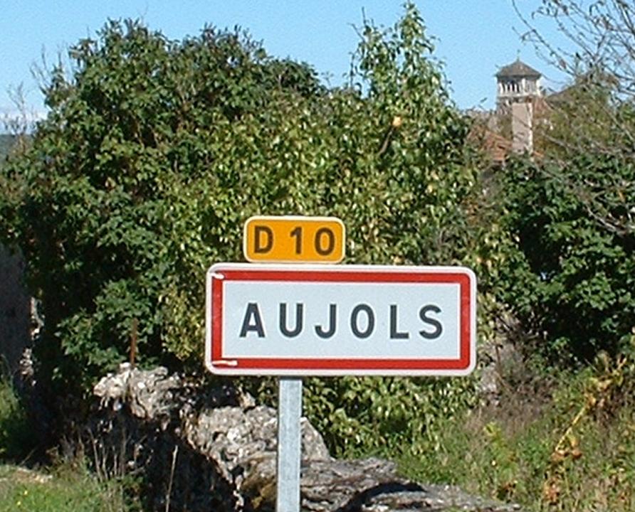 Communes - Aujols - - Panneau du village de Aujols