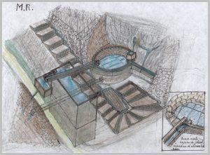 Croquis de la fontaine Romaine dite des Anglais (Roger Marty) à Capdenac-le-Haut dans le Lot