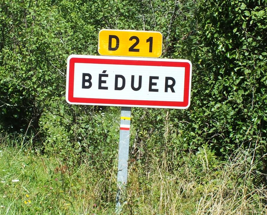 Communes - Béduer - - Panneau du village de Béduer
