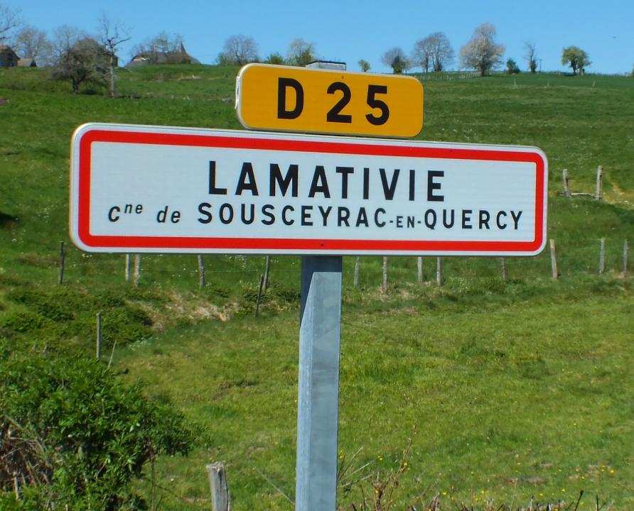 Communes - Lamativie (Sousceyrac-en-Quercy) - - Panneau du village de Lamativie (Sousceyrac-en-Quercy)