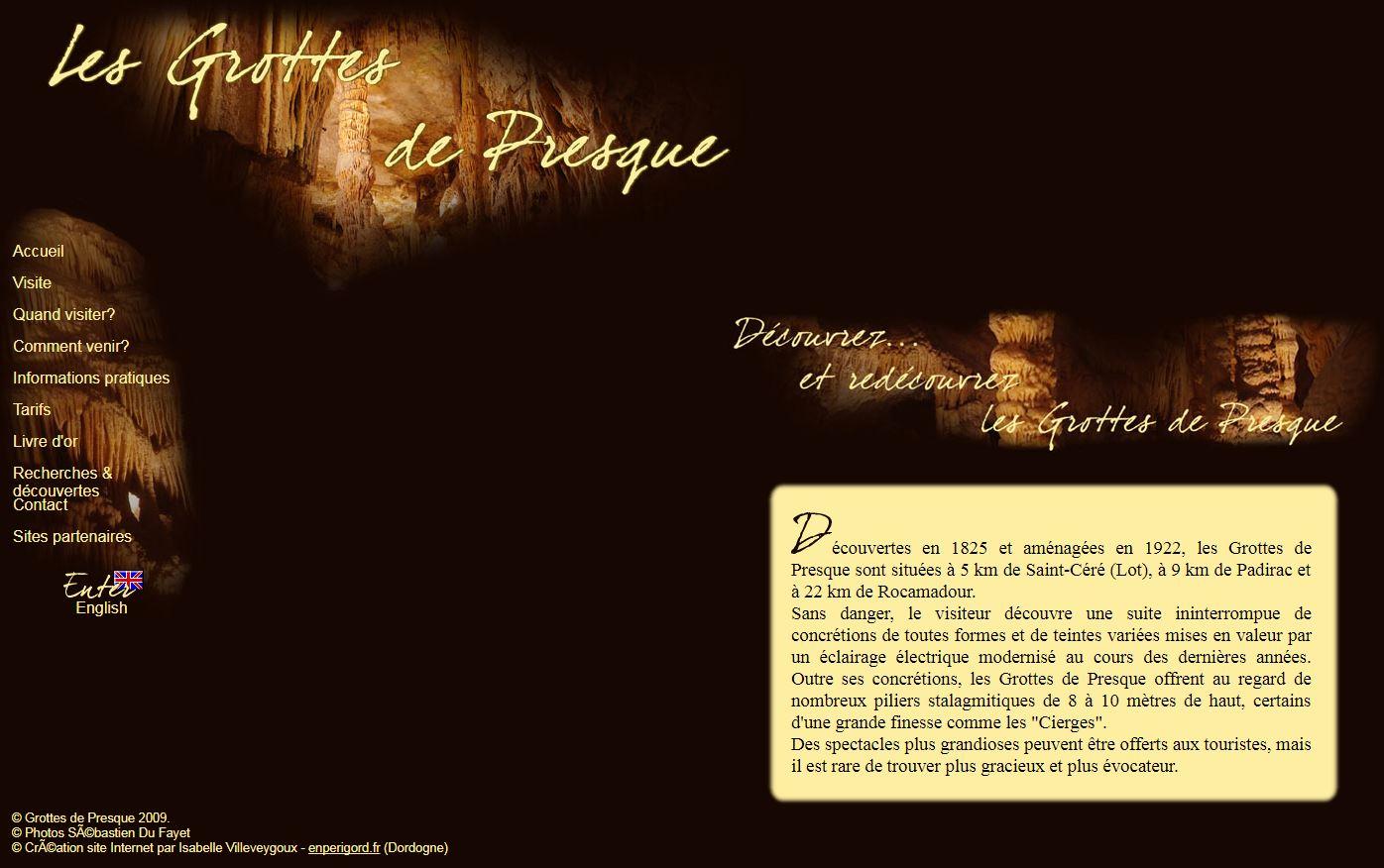 Site Web des Grottes de Presque