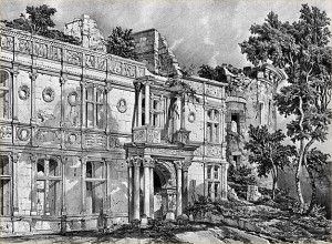 Façade intérieure du Château d'Assier au XIXe siècle