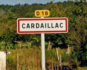 Panneau du village de Cardaillac dans le Lot