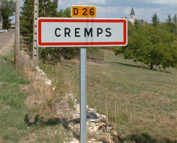 Panneau du village de Cremps