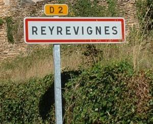 Panneau du village de Reyrevignes dans le Lot