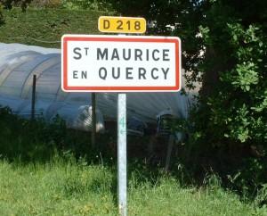 Panneau du village de Saint-Maurice-en-Quercy dans le Lot