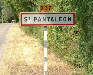 Panneau du village de Saint-Pantaléon