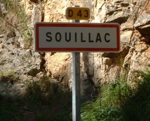 Panneau de la ville de Souillac dans le Lot