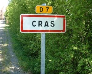 Panneau du village de Cras dans le Lot