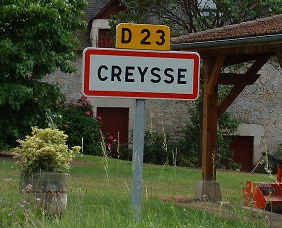 Panneau du village de Creysse dans le Lot
