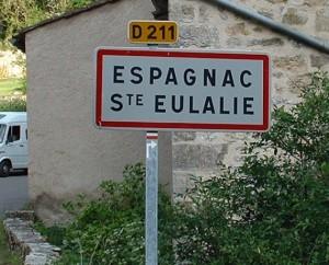 Panneau du village d'Espagnac-Sainte-Eulalie dans la Lot