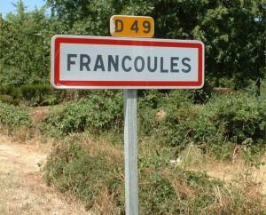 Panneau du village de Francoulès dans le Lot