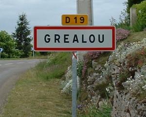 Panneau du village de Gréalou dans le Lot