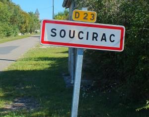 Panneau du village de Soucirac dans le Lot