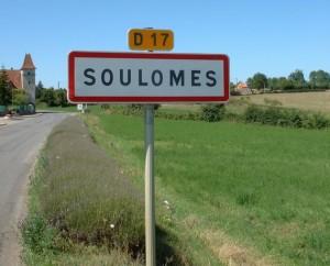Panneau du village de Soulomès dans le Lot