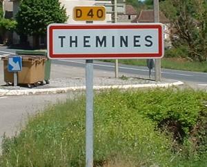 Panneau du village de Thémines dans le Lot