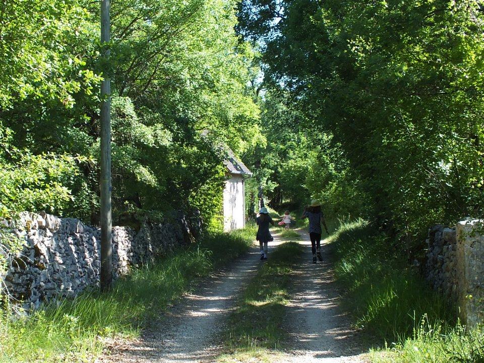 Sentier vers le dolmen du Cloup des Périès à Grèzes dans le Lot