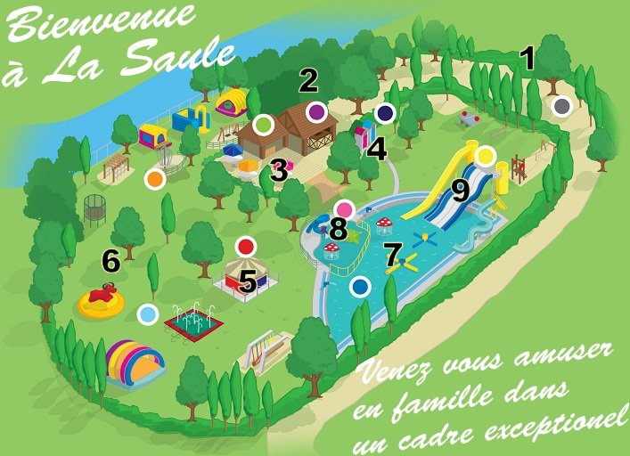 Plan du parc aqualudik de La Saule à Bétaille