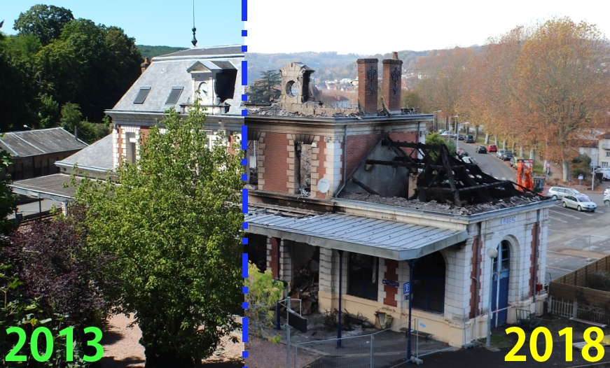 Gare ferroviaire de Figeac dans le Lot - LOT'refois - Photo 2013 vs Photo 2018
