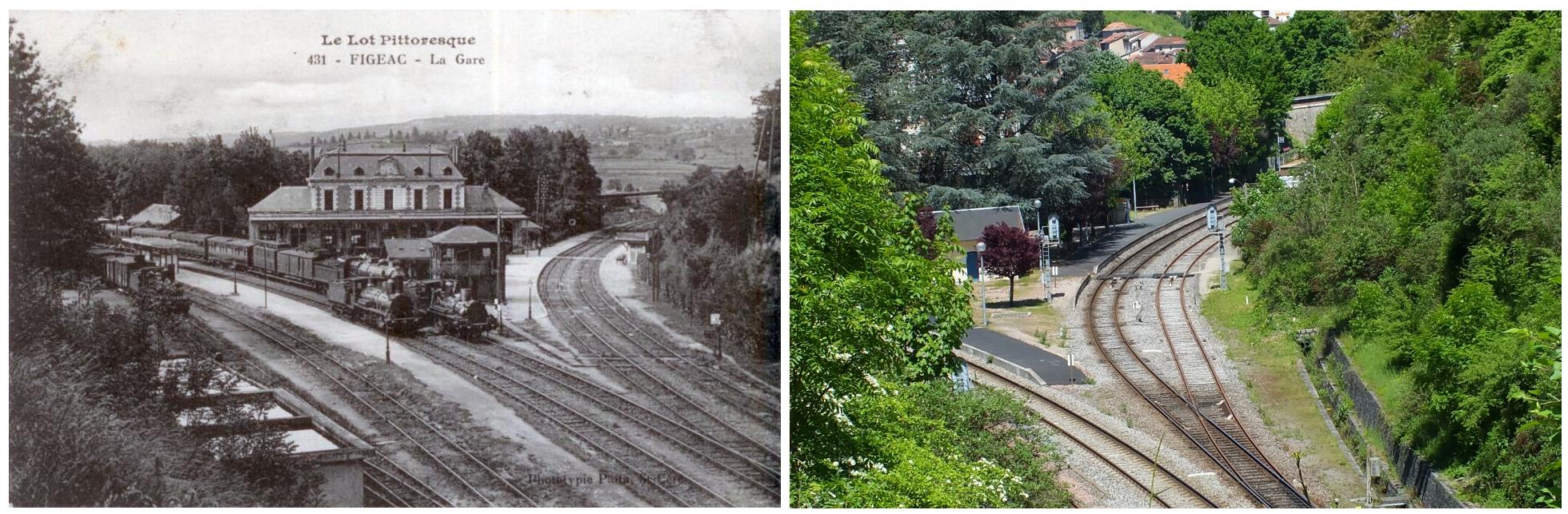Gare ferroviaire de Figeac dans le Lot - Vue Sud-Ouest - LOT'refois - Photo 2013 - CPA début XXe
