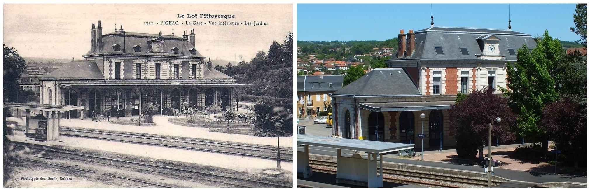Gare ferroviaire de Figeac dans le Lot - Vue Sud-Ouest - LOT'refois - CPA début XXe - Photo 2013